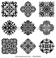 ornamental flowers vector set abstract floral stock vector