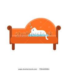 cute white cat lying on orange stock vector 708468964 shutterstock