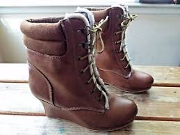 s lace up boots size 9 forever 21 s brown faux leather high wedge lace up boots