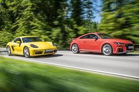 porsche audi twin test audi tt rs vs porsche 718 cayman s by car magazine