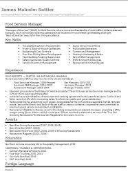 Food Service Manager Resume Cv Examples Free Examples Of Cvs For Different Professions