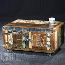 Wohnzimmertisch Kiste Couchtisch Fridge Truhe Echt Altholz Bunt Lackiert Vintage