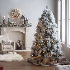 7 5 ft classic flocked needle full pre lit christmas tree hayneedle