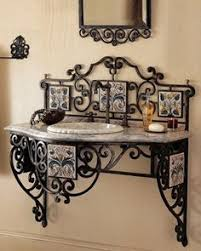 Wrought Iron Bathroom Furniture Wrought Iron Mirror And Counter Accents Lovely And Majestic