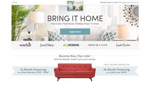 furniture brand credit cards wayfair credit card