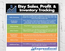 Etsy Spreadsheet Etsy Sales Profit Inventory Tracking Even Calculator