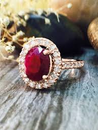 rose color rings images Ruby and diamond halo engagement lt prong gt solid 14k rose gold 14kr jpg
