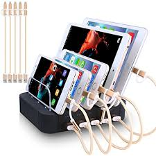 charging station phone amazon com charging station 5 port usb charger quick charge