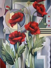 cubism flower painting cubist poppies catherine abel store