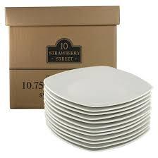 square dinner plates porcelain 10in white set of 12 10