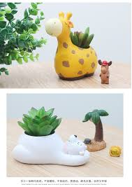 aliexpress com buy cartoon resin flowerpot kawaii zakka giraffe