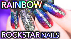 rainbow rockstar nails using superchic lacquer holos youtube