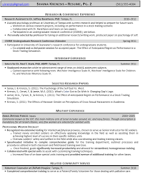 Example Of A Military Resume Sample Resume For Psychology Majors Free Resumes Tips
