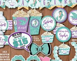 the sea baby shower decorations mermaid baby shower etsy