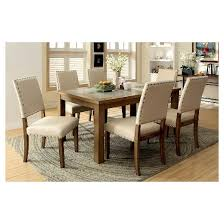 sun u0026 pine 7pc stone inserted wood dining table set wood natural