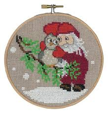 santa and owl counted cross stitch ornament kit