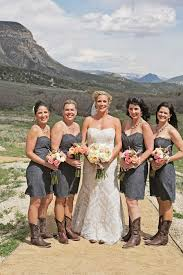 bridesmaid dresses with cowboy boots gray bridesmaid dresses brown cowboy boots