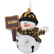 pittsburgh steelers snowman bell with sign ornament nflshop