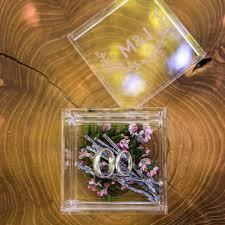 monogrammed woodland personalized lucite wedding ring box u2013 tea
