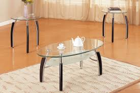 Glass Top Coffee Tables And End Tables Poundex 3pcs Glass Top Coffee Table Set F3077