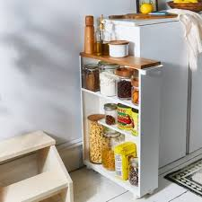 kitchen storage cabinet cart wood steel slim storage cabinet
