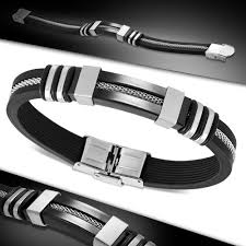 black bracelet rubber images Fc black rubber mesh link bracelet plus stainless steel 2 tone jpg