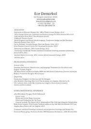 Ece Sample Resume by Set Designer Resume