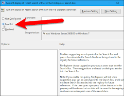 Windows Search Box - how to disable the search history in windows file explorer