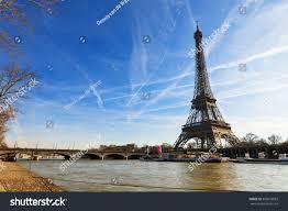 beautiful eiffel tower seine river dramatic stock photo 369078833