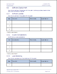 Software Deployment Document Template availability plan ms word template