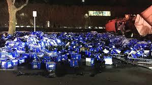 bud light truck driving jobs bud light truck crash spills cases of beer on long island road cbs