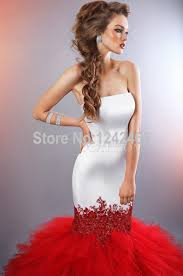 white and red mermaid wedding dresses bride bridal red and white