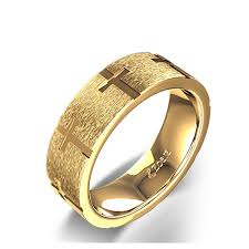christian wedding bands cross christian wedding ring in 14k yellow gold
