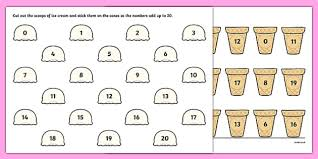 ice cream number bonds to 20 activity sheet ice cream number