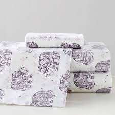 winter elephant flannel sheet set pbteen