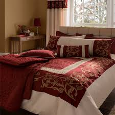 catherine lansfield persia scroll embellished faux silk duvet cover set red