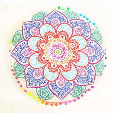 Pink Round Cushion Indian Mandala Floor Pillows Round Bohemian Cushion Cushions