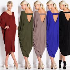 uk new women v neck backless batwing long sleeve casual loose