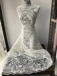 off white ivory bridal lace fabric embroidered tulle baroque
