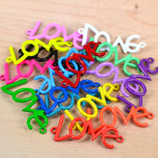 10x new love symbol mix color spray paint alloy connector finding