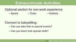 Kids Resume How To Write A Resume For Babysitting With Pictures Wikihow