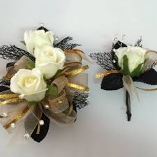 Corsage And Boutonniere Prices Black U0026 Gold U2013 Roses Corsage And Boutonniere Set Prom