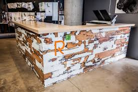 Reception Desk Size by Reclaimed Wood Reception Desk Because We Can
