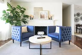 Living Room Sitting Chairs Design Ideas Blue Tufted Accent Chairs With White Brick Fireplace
