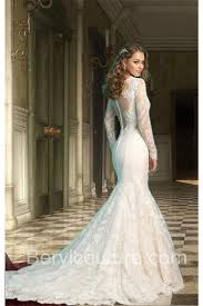 dresses fishtail with lace sleeves