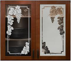 Kitchen Cabinet Glass Doors Etched Cabinet Glass Grapes Grapevine Frosted Cabinet Glass