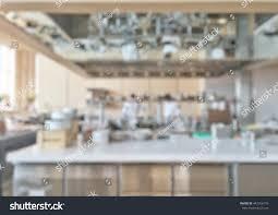 Open Kitchen Restaurant Design Open Kitchen Blur Background Luxury Hotel Stock Photo 442916170