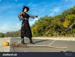 halloween themed keyboard background halloween theme dressed lady hitchhiking on stock photo 324829853