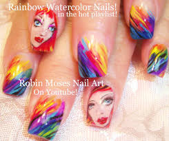 rainbow nails watercolor rainbow nail art design tutorial youtube