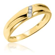gold wedding bands for men 1 20 ct t w diamond men s wedding band 10k yellow gold
